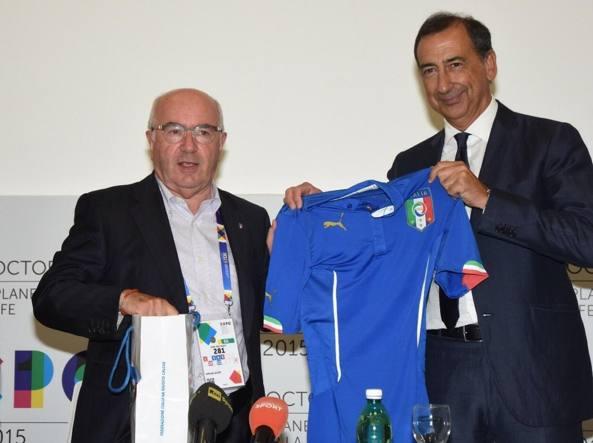 Carlo Tavecchio con Giuseppe Sala all'Expo (Omnimilano)