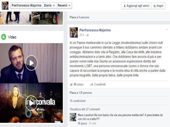 Il post pubblicato domenica da Majorino: dopo le reazioni negative, l'assessore ha cercato di precisare la sua posizione (foto da Facebook)