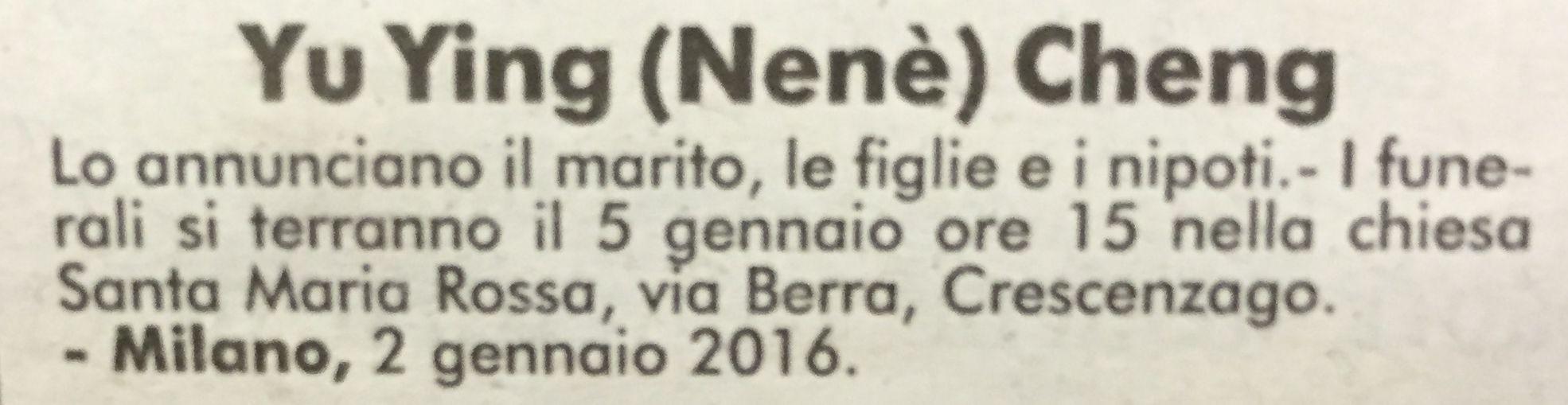 Il necrologio pubblicato sul Corriere della Sera