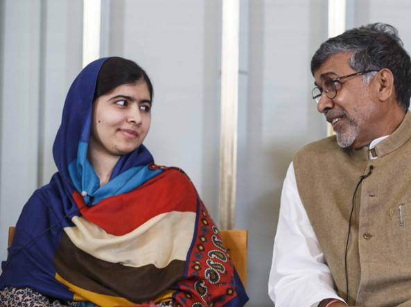 Kailash Satyarthi e Malala Yousafzai a Oslo nel 2014  (LaPresse)