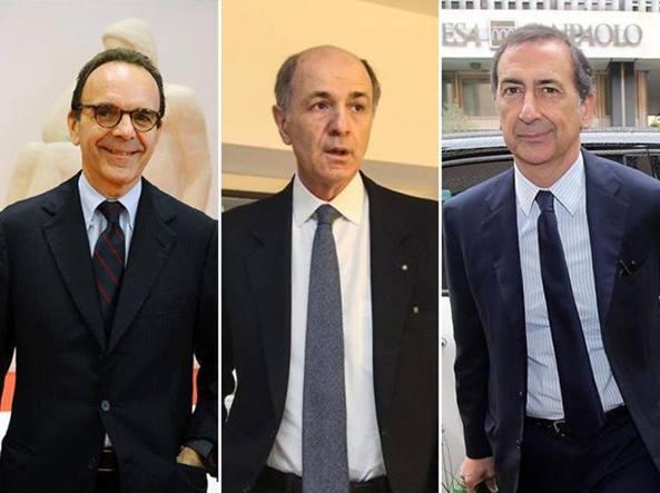 I candidati sindaco: da sinistra  Stefano Parisi, Corrado Passera e Giuseppe Sala