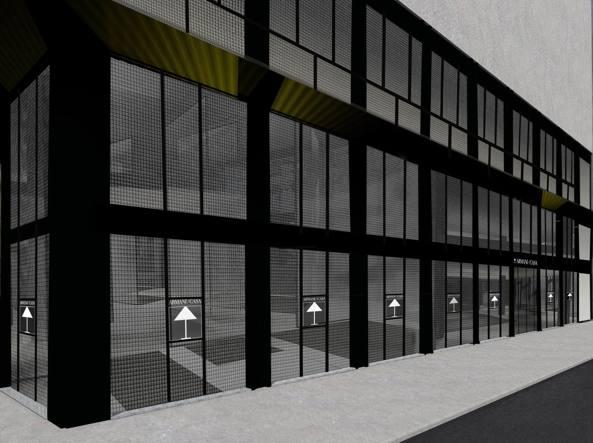 Il rendering del nuovo spazio Armani Casa in corso Venezia