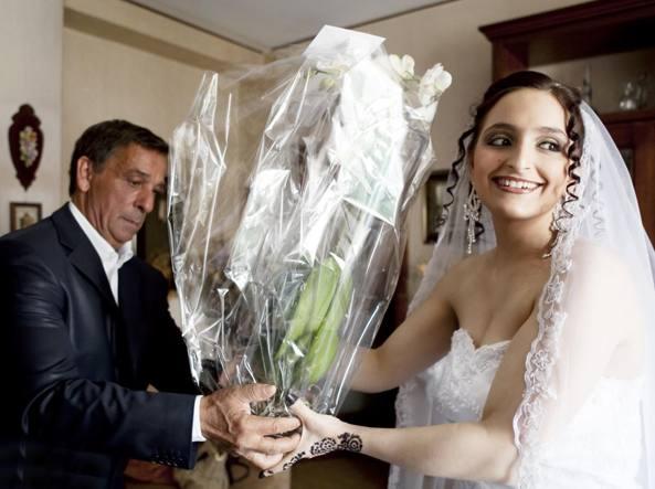 Maria Giulia Sergio nel giorno delle nozze