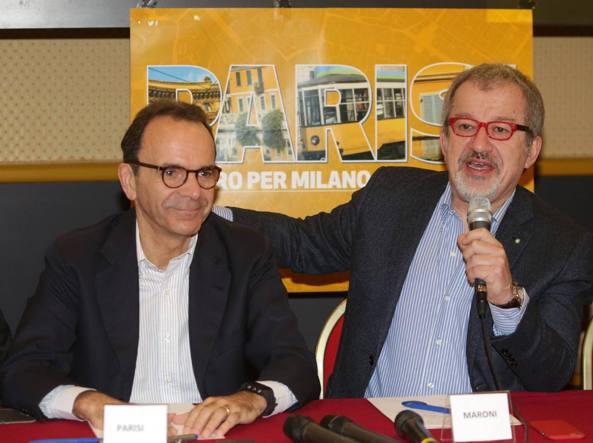 Stefano Parisi e Roberto Maroni all'incontro a cura di Silvia Sardone (Fotogramma)