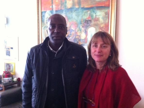 Madicke Sow con il sindaco di Sesto Sesto San Giovanni, Monica Chittò