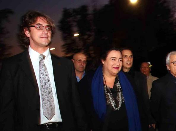 Gianluca Corrado e Patrizia Bedori il giorno delle primarie (Fotogramma)