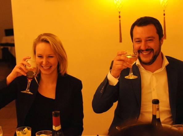 Marion Le Pen a cena con Salvini (foto Cavicchi)
