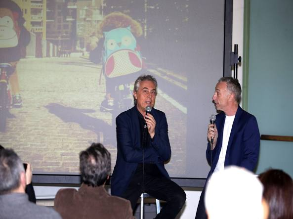 Stefano Boeri e Linus alla Triennale (Fotogramma)