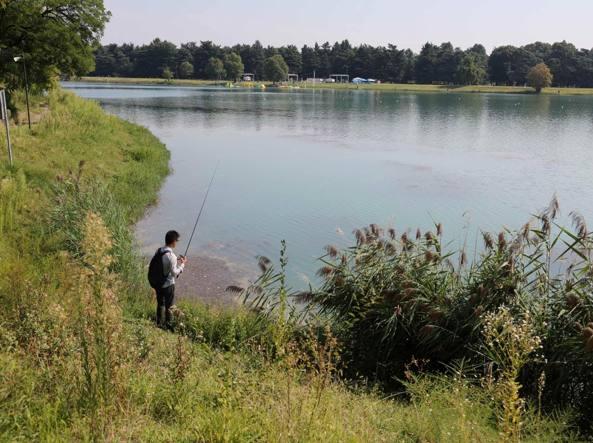 Pescatore all'idroscalo (Fotogramma)