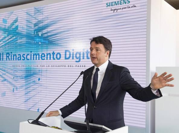 Matteo Renzi presente all'evento di posa prima pietra del quartier generale Siemens Italia (Ansa)