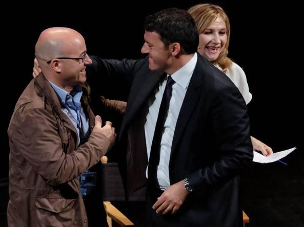 Il premier Matteo Renzi con il direttore Iit Roberto Cingolani
