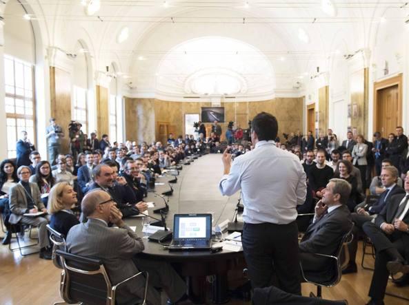 Matteo Renzi al Politecnico di Milano  (Lapresse)