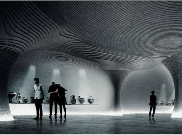 Un rendering mostra l'interno del futuro Museo etrusco (Courtesy ParisRender)