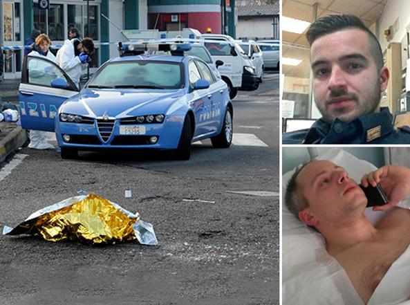 I due agenti: Luca Scatà e, sotto, il poliziotto ferito Cristian Movio