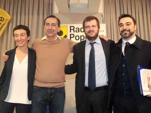 Le primarie del centrosinistra: l'ex vicesindaco Francesca Balzani, il nuovo sindaco Beppe Sala, l'assessore alle Politiche sociali Pierfrancesco Majorino e Antonio Iannetta (Uisp)