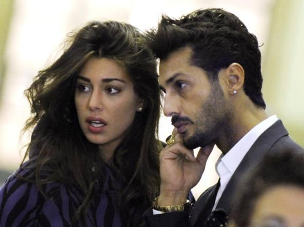Belen Rodriguez e Fabrizio Corona nel 2009, ai tempi della loro relazione (Ansa)