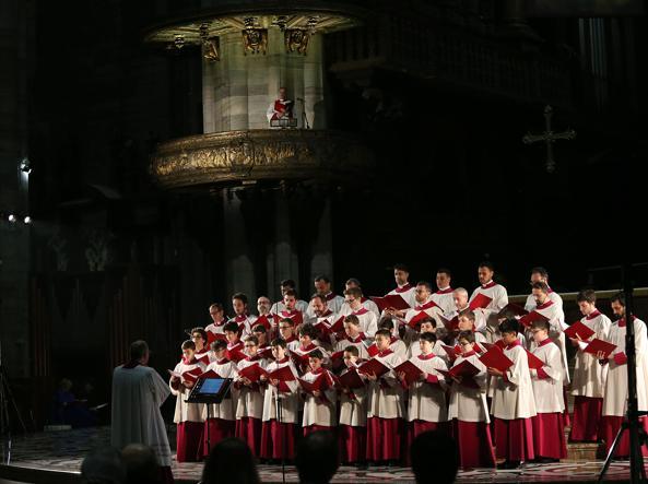 La Cappella Musicale Pontificia «Sistina»   ha cantato per la prima volta in Duomo il 23 marzo (LaPresse)
