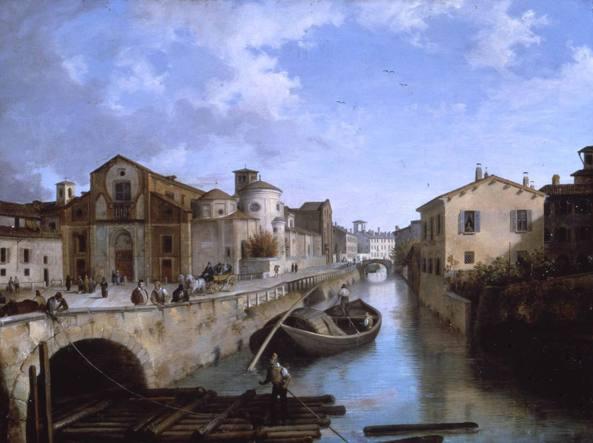 «Il Naviglio in Fatebenefratelli» con vista della Basilica di San Marco in un quadro di Angelo Inganni