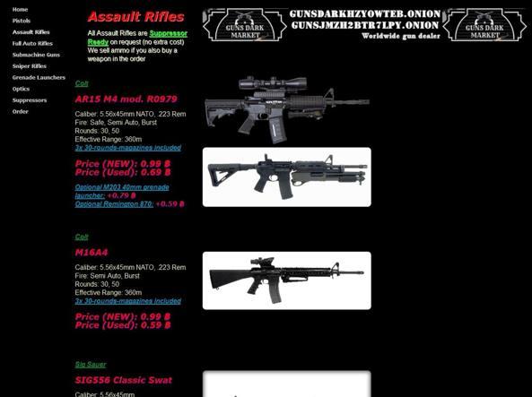 Fucili in vendita sul deep web