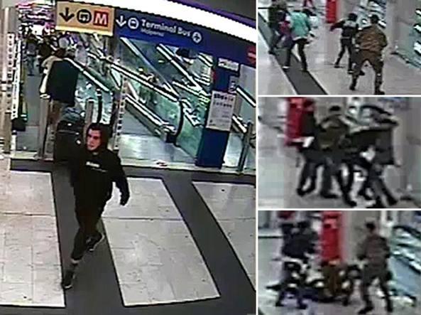 Ismail Hosni (a sinistra) ripreso dalle telecamere di sicurezza della stazione Centrale di Milano. A destra la sequenza dell'arresto