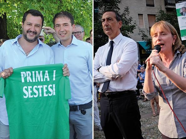 Matteo Salvini con il candidato Roberto Di Stefano e Beppe Sala con la sindaca uscente Monica Chittò