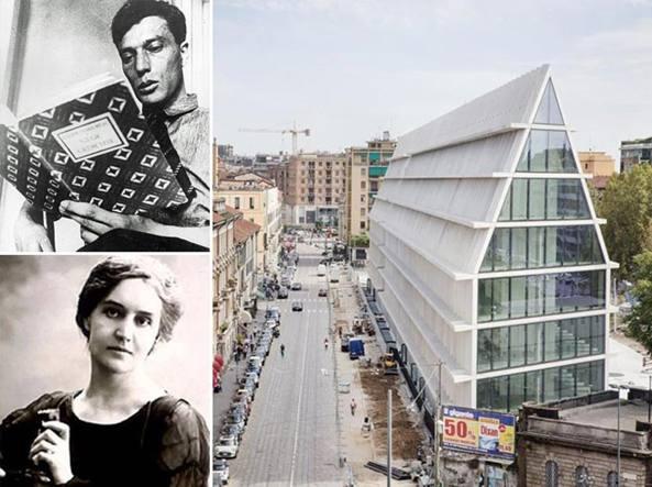 La nuova Fondazione Feltrinelli, nei riquadri Boris Pasternak (sopra) e Sibilla Aleramo