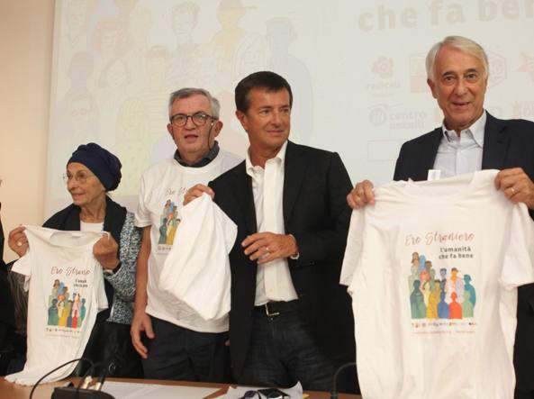 Emma Bonino, don Virginio Colmegna, Giorgio Gori e Giuliano Pisapia (foto Nicola Vaglia/LaPresse)