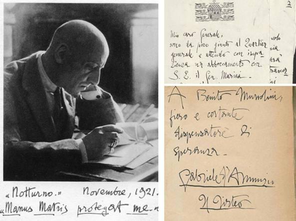 Un'autentica immagine autografata di Gabriele D'Annunzio e, a destra, due  dei reperti dichiarati falsi con la sentenza del 12 settembre