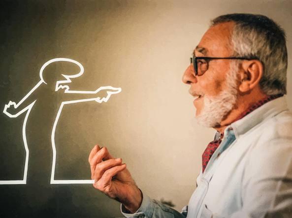 Osvaldo Cavandoli (1920-2007) con «La Linea», il disegno animato che creò per la pubblicità di pentole Lagostina