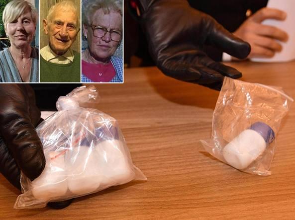 Le boccette del tallio nascoste da Mattia in cantina e, nel riquadro, le tre vittime: Patrizia Del Zotto (63 anni), il padre Giovanni Battista Del Zotto (94 anni) e la madre Gioia Maria Pittana (91 anni)