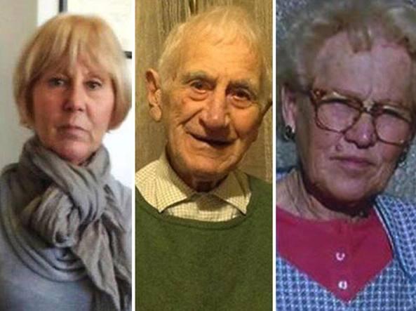 Le tre vittime dell'avvelenamento da tallio: Patrizia Del Zotto (63 anni), il padre Giovanni Battista Del Zotto (94 anni) e la madre Gioia Maria Pittana (91 anni)