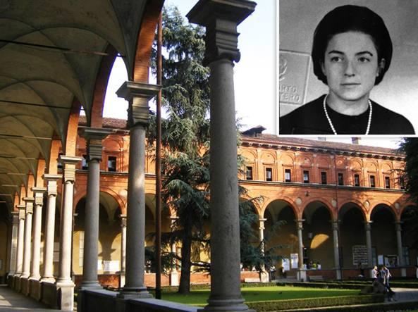 I chiostri dell'Università Cattolica del Sacro Cuore di Milano e, nel riquadro, Simonetta Ferrero