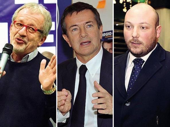 Da sinistra, Roberto Maroni, Giorgio Gori e Dario Violi