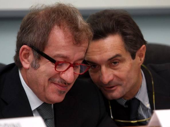 L'ex sindaco di Varese, Attilio Fontana (a destra), con l'attuale governatore della Lombardia, Roberto Maroni