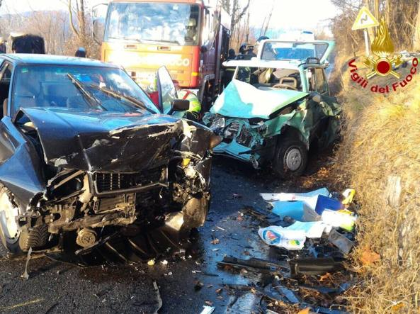 Le due auto coinvolte nell'incidente sulla provinciale 394