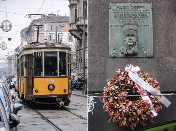 La lapide che ricorda Mario Greppi nel luogo dove fu ucciso, vicino a casa sua, in via San Michele del Carso a Milano. Aveva tentato di fuggire saltando su un tram (foto Matteo Corner/LaPresse)