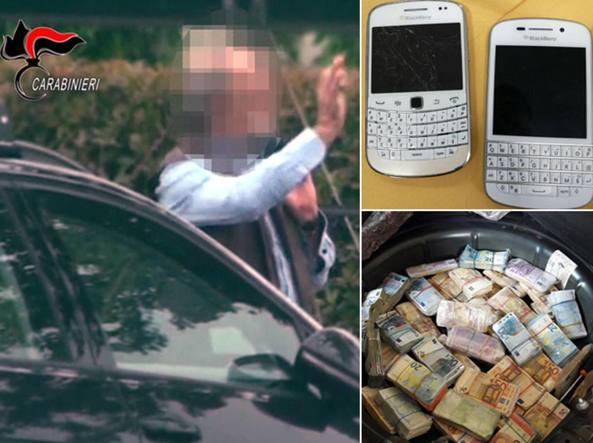 Uno dei trafficanti ripreso dai carabinieri mentre va a un incontro. Nei riquadri: Blackberry modificati e criptati e soldi nel doppio fondo della Mercedes
