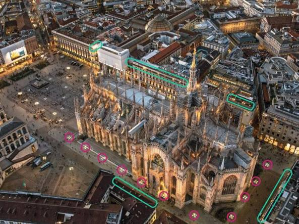 Nella foto aerea del Duomo sono evidenziati i punti in cui saranno installati i nuovi proiettori